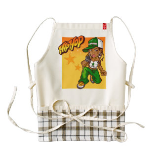 hip hop rapper girl green orange cartoon zazzle HEART apron