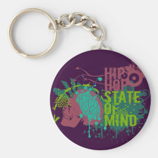 Hip Hop State of Mind Basic Round Button Keychain