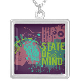 Hip Hop State of Mind Square Pendant Necklace