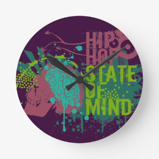 Hip Hop State of Mind Round Clock