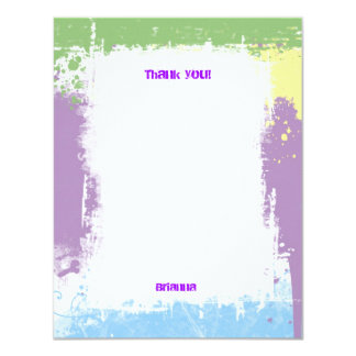 Hip Hop Sweet Pastel Grunge Thank You Note 4.25x5.5 Paper Invitation Card