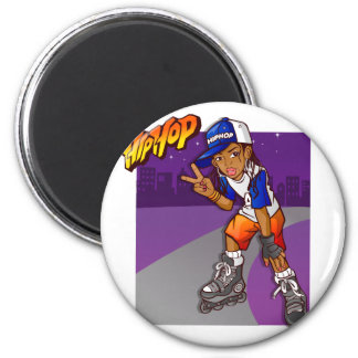 Hip Hop Teenage Skater Cartoon 2 Inch Round Magnet