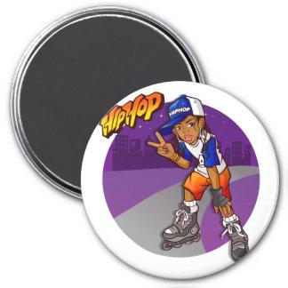 Hip Hop Teenage Skater Cartoon 3 Inch Round Magnet