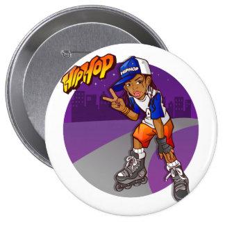 Hip Hop Teenage Skater Cartoon Button