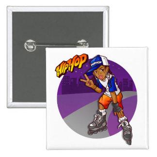 Hip Hop Teenage Skater Cartoon Pinback Button