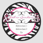 Hip Hot Pink and Black Animal Print Address Label Stickers