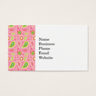 Hip Hot Pink and Neon Green Paisley Pattern Business Card