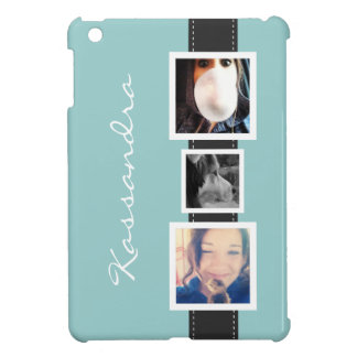 Hip Instagram Photo Collage 3 Photos and Name Case For The iPad Mini