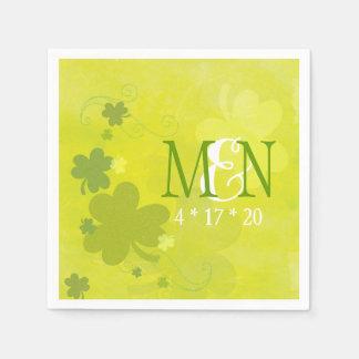 Hip Irish Shamrocks Monogrammed Wedding Paper Napkin
