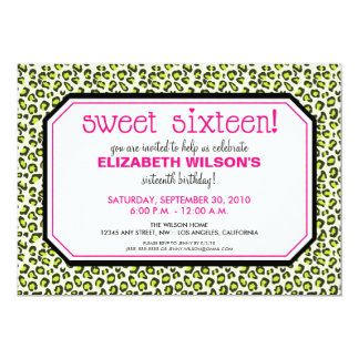 Hip Leopard Sweet 16 Birthday Party Invite: lime Card