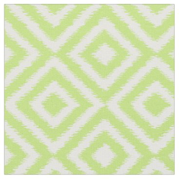 Aztec Themed Hip Lime Green Ikat Diamond Squares Mosaic Pattern Fabric