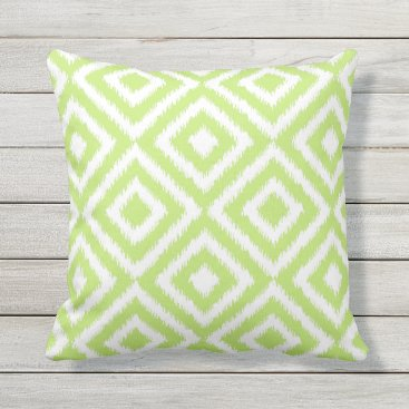 Aztec Themed Hip Lime Green Ikat Diamond Squares Mosaic Pattern Throw Pillow