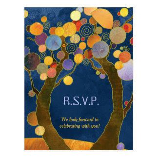 Hip Love Trees Royal Blue Wedding RSVP Postcard