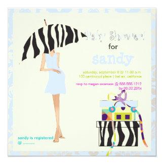 Hip mama, baby blue damask/zebra baby shower 5.25x5.25 square paper invitation card