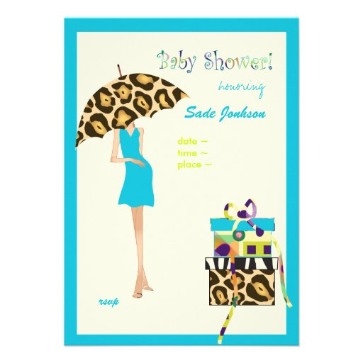 hip mama baby shower blue dress leopard spots 5x7 paper invitation