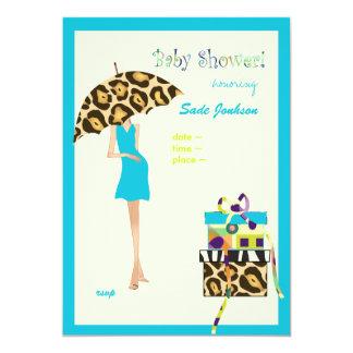 Hip Mama Baby Shower/ blue dress / leopard spots 5x7 Paper Invitation Card