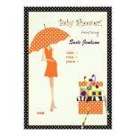 Hip Mama Baby Shower/ orange/ polka dots 5x7 Paper Invitation Card
