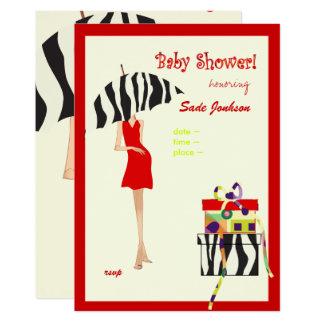Hip Mama Baby Shower/ red dress / zebra stripes Card
