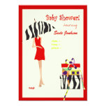 Hip Mama Baby Shower/ red dress / zebra stripes Personalized Announcements
