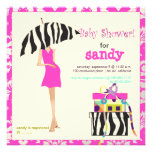Hip mama, hot pink damask/zebra baby shower announcements
