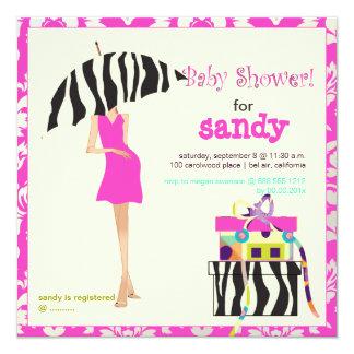 Hip mama, hot pink damask/zebra baby shower 5.25x5.25 square paper invitation card