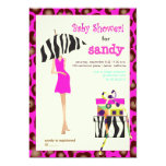 Hip mama, hot pink jaguar/zebra baby shower 5x7 paper invitation card