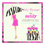 Hip mama, hot pink zebra baby shower personalized invites