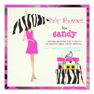 Hip mama, hot pink zebra baby shower 5.25x5.25 square paper invitation card