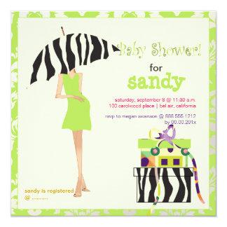 Hip mama, lime green damask/zebra baby shower card