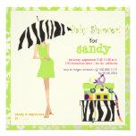 Hip mama, lime green damask/zebra baby shower custom invitation