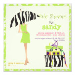 Hip mama, lime green damask/zebra baby shower invitation
