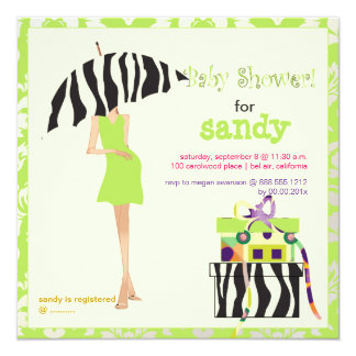 Hip mama, lime green damask/zebra baby shower 5.25x5.25 square paper invitation card