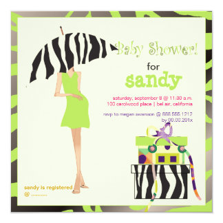 Hip mama, lime green zebra baby shower card