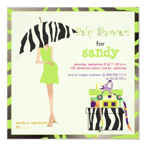 Hip mama, lime green zebra baby shower 5.25x5.25 square paper invitation card