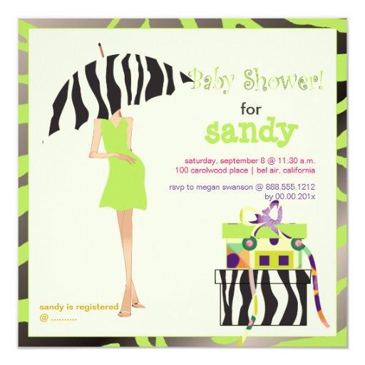 Hip mama, lime green zebra baby shower invitation