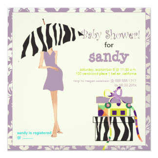 Hip mama, purple damask/zebra baby shower 5.25x5.25 square paper invitation card