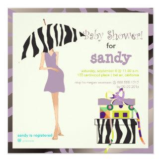 Hip mama, purple zebra baby shower 5.25x5.25 square paper invitation card
