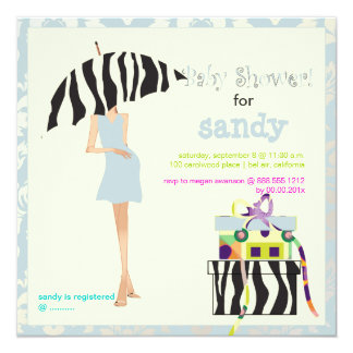 Hip mama, silver blue damask/zebra baby shower 5.25x5.25 square paper invitation card