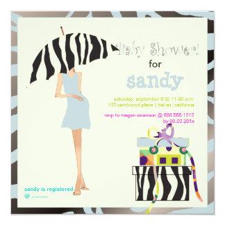 Hip mama, silver blue zebra baby shower card