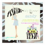 Hip mama, silver blue zebra baby shower 5.25x5.25 square paper invitation card