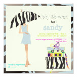 Hip mama, silver blue zebra baby shower personalized announcements