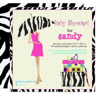 Hip mama, zebra baby shower card