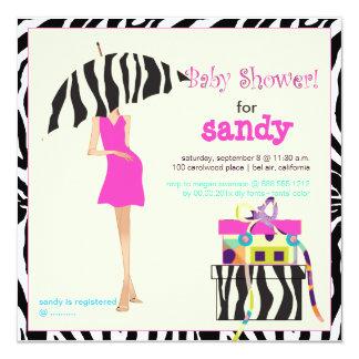 Hip mama, zebra baby shower 5.25x5.25 square paper invitation card