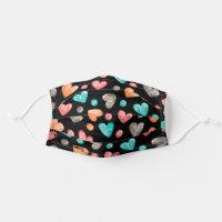 Hip Mint Green Blue Pink Salmon Orange Hearts Adult Cloth Face Mask