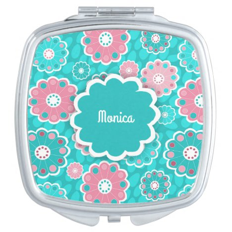 Hip mod floral aqua and pink mirror for makeup