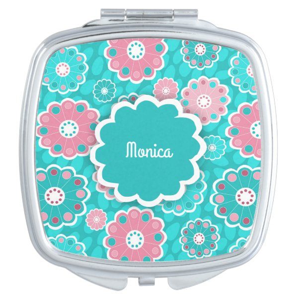 Hip mod floral aqua and pink mirror for makeup