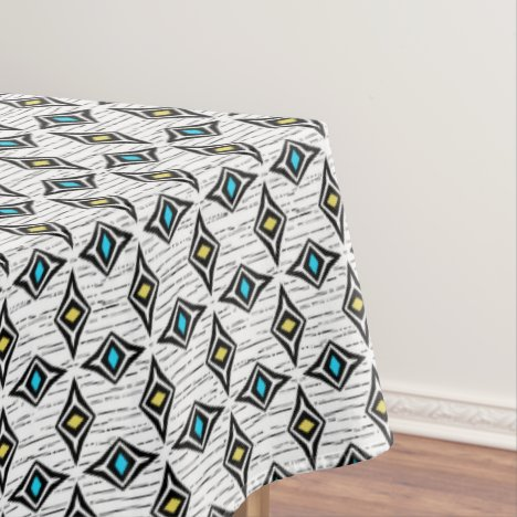 Hip modern contemporary diamond blue yellow tablecloth