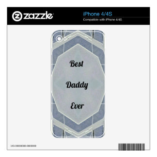 """Hip Modern Gray """"Best Daddy Ever"""" iPhone 4S Decal"""