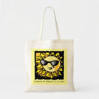 Hip Modern Summer Sun Bride Groom Wedding 2 Yellow Tote Bag