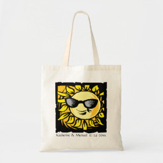 Hip Modern Sun Bride Groom Custom Wedding on White Tote Bags